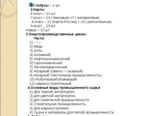 Оборудование и наглядные пособия 1.Глобусы – 2 шт. 2.Карты 6 класс – 11 шт. 7