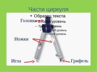 Части циркуля Головка Ножки Игла Грифель