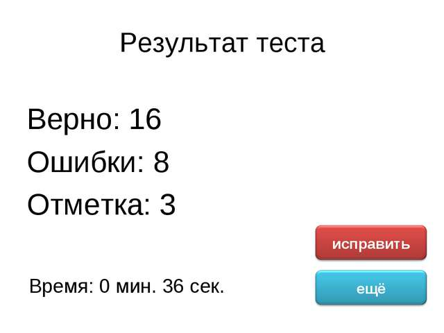 Результат теста Верно: 16 Ошибки: 8 Отметка: 3 Время: 0 мин. 36 сек.