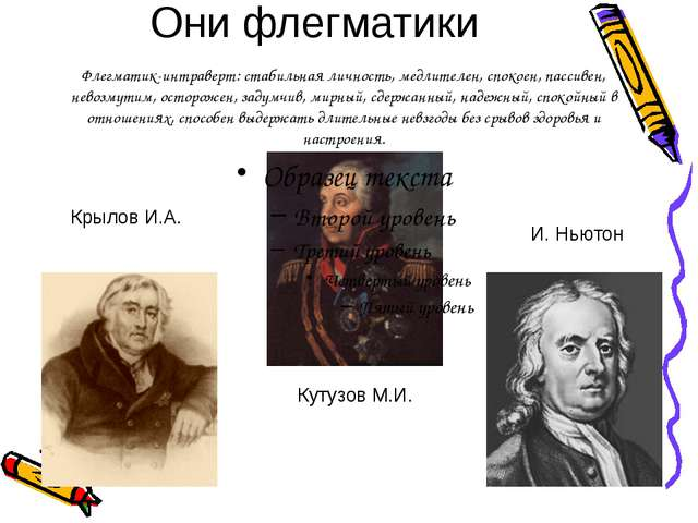 Они флегматики Кутузов М.И. Крылов И.А. И. Ньютон Флегматик-интраверт: стабил...