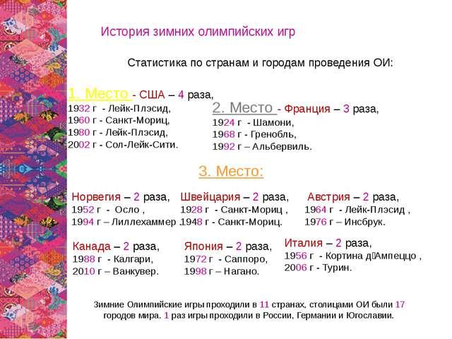 История зимних олимпийских игр Статистика по странам и городам проведения ОИ:...