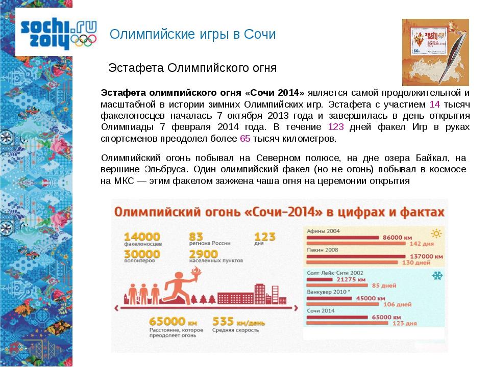 Олимпийские игры в Сочи Эстафета Олимпийского огня Эстафета олимпийского огня...