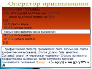PROGRAM ИМЯ ПРОГРАММЫ; VAR список однотипных переменных: INTEGER; список одно