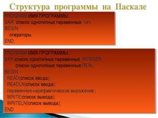 PROGRAM ИМЯ ПРОГРАММЫ; VAR список однотипных переменных: тип; BEGIN операторы