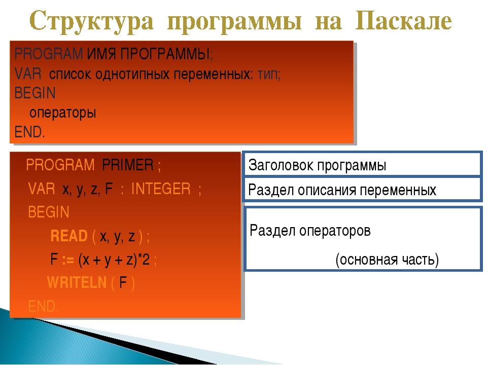 PROGRAM PRIMER ; VAR x, y, z, F : INTEGER ; BEGIN READ ( x, y, z ) ; F := (x...