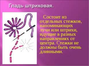 Состоит из отдельных стежков, напоминающих лучи или штрихи, идущие в разных