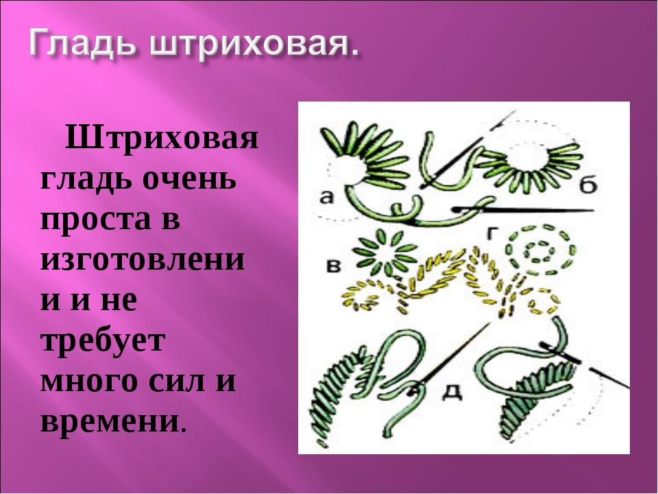 Штриховая гладь очень проста в изготовлении и не требует много сил и времени.