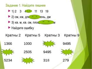 Задание 1. Найдите лишнее 1) 2 3 4 7 11 13 19 2) см, км, длина, сажень, дм 3)