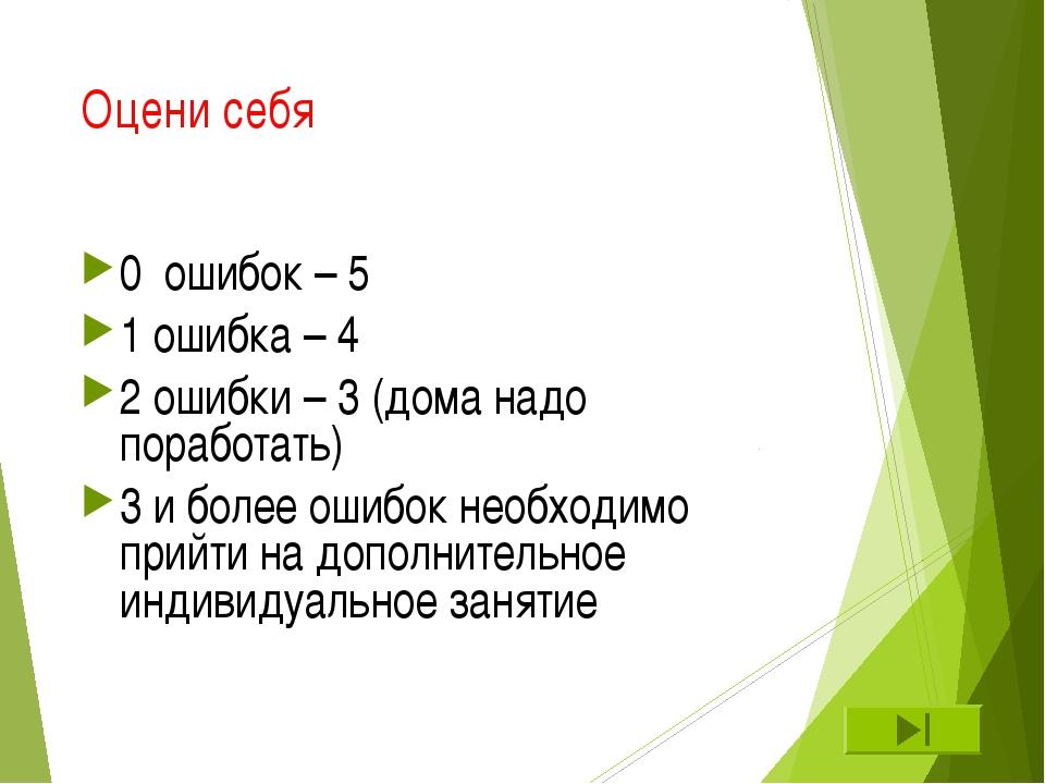 Оцени себя 0 ошибок – 5 1 ошибка – 4 2 ошибки – 3 (дома надо поработать) 3 и...