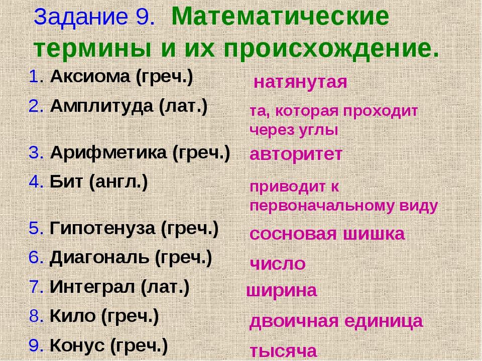 Задание 9. Математические термины и их происхождение. натянутая та, которая п...