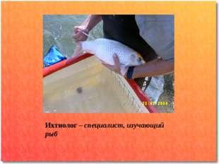 Ихтиолог – специалист, изучающий рыб .