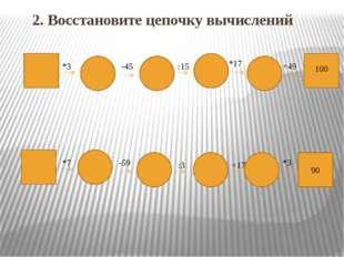 2. Восстановите цепочку вычислений 90 100 +49 *17 :15 -45 *3 *3 +17 :3 -59 *7
