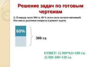 Решение задач по готовым чертежам 1) Площадь поля 300 га. 60 % всего поля зас