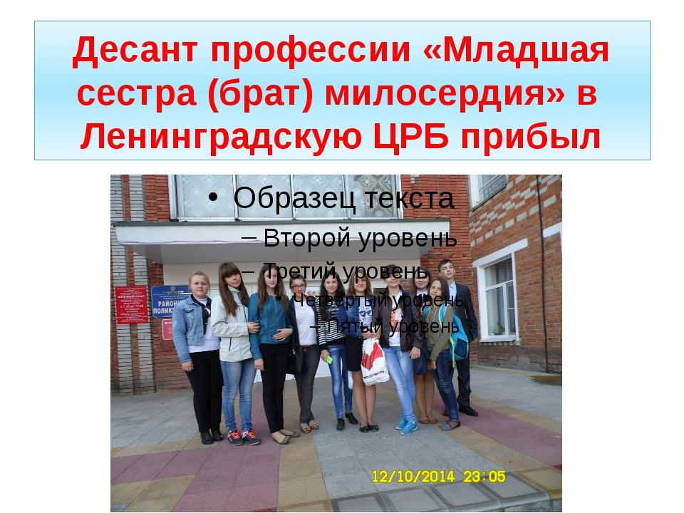 Десант профессии «Младшая сестра (брат) милосердия» в Ленинградскую ЦРБ прибыл