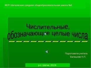 МОУ Шатковская средняя общеобразовательная школа №1 Подготовила учитель Балаш