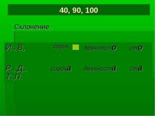 40, 90, 100 Склонение И., В,сорокдевяностосто Р., Д., Т.,П.сорокадевянос