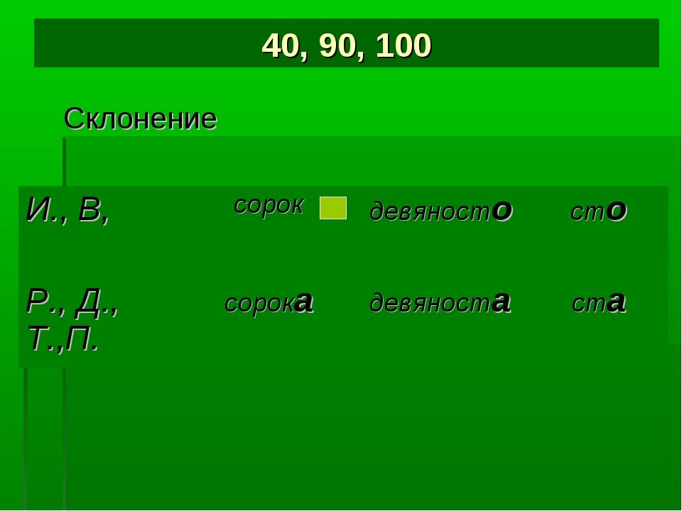40, 90, 100 Склонение И., В,сорокдевяностосто Р., Д., Т.,П.сорокадевянос...