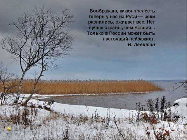 Воображаю, какая прелесть теперь у нас на Руси — реки разлились, оживает все....