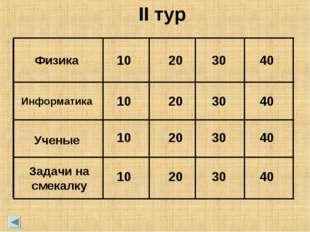 Физика 10 20 30 40 Информатика 10 20 30 40 Ученые 10 20 30 40 Задачи на смека