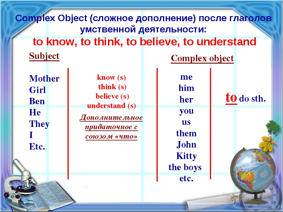 Complex Object (сложное дополнение) после глаголов умственной деятельности: t...