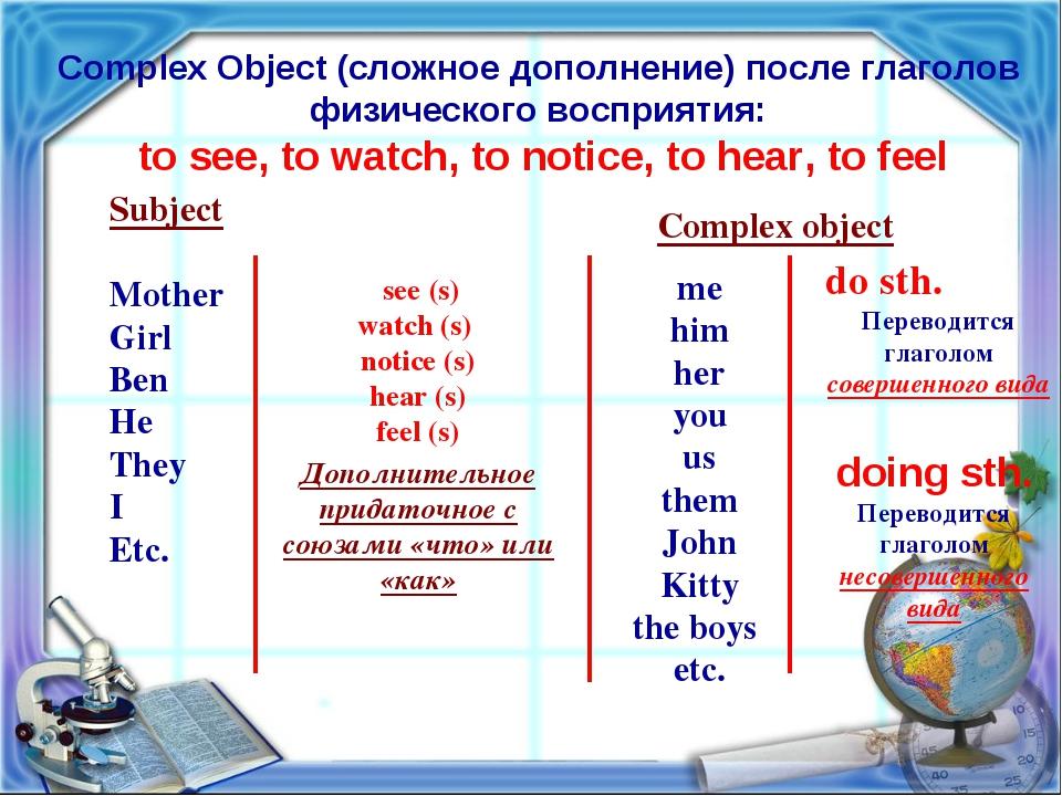 Complex Object (сложное дополнение) после глаголов физического восприятия: to...
