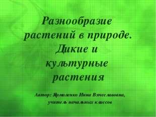 Автор: Ярмоленко Инна Вячеславовна, учитель начальных классов Разнообразие ра