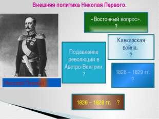 Внешняя политика Николая Первого. «Восточный вопрос». ? Подавление революции