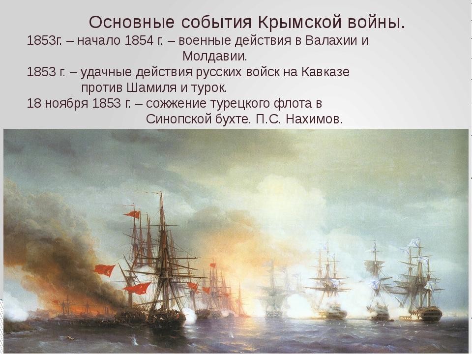 Основные события Крымской войны. 1853г. – начало 1854 г. – военные действия в...