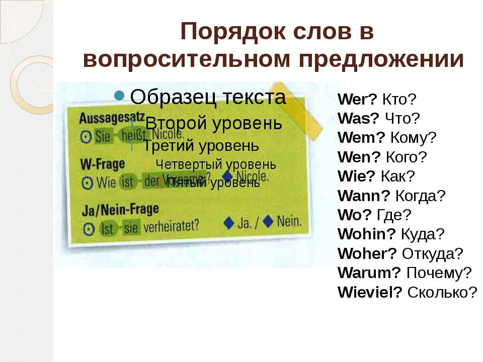 Порядок слов в вопросительном предложении Wer?Кто? Was?Что? Wem?Кому? Wen...