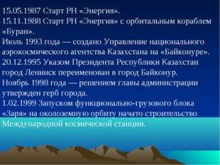 15.05.1987 Старт РН «Энергия». 15.11.1988 Старт РН «Энергия» с орбитальным ко