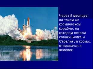 Через 8 месяцев на таком же космическом корабле, на котором летали собаки Бел