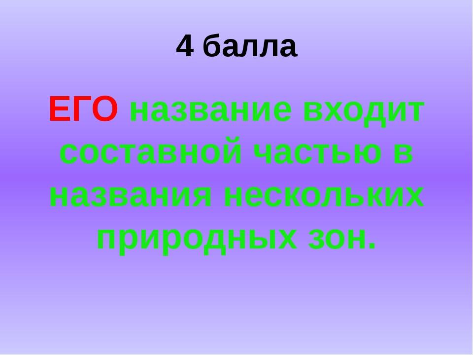 4 балла ЕГО название входит составной частью в названия нескольких природных...