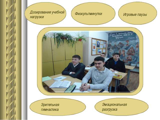 Дозирование учебной нагрузки Физкультминутки Игровые паузы Зрительная гимнаст...