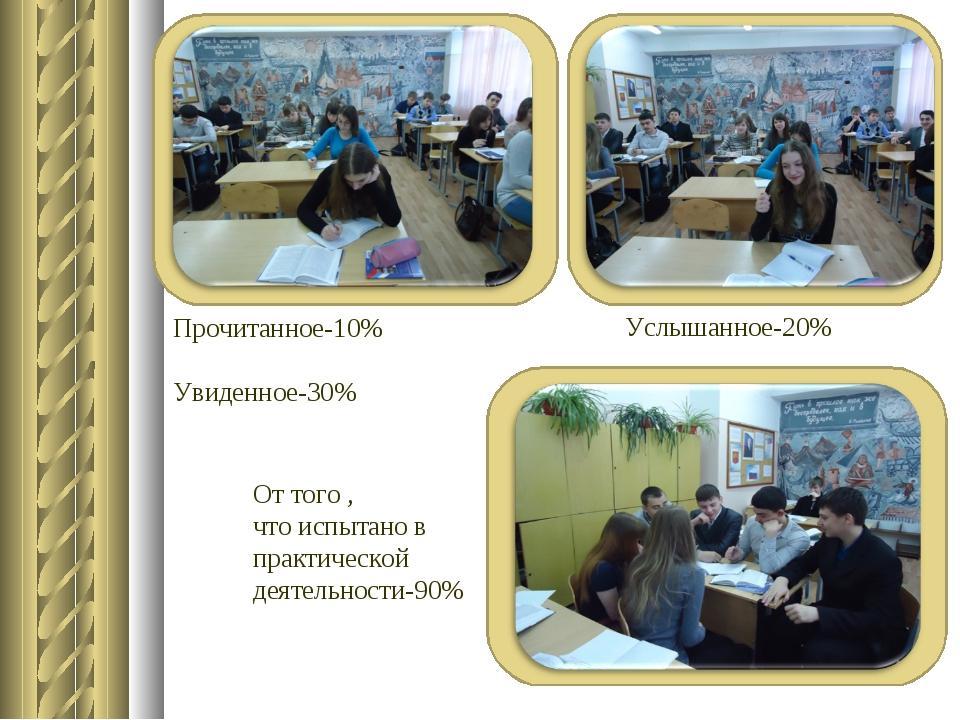Прочитанное-10% Увиденное-30% Услышанное-20% От того , что испытано в практи...