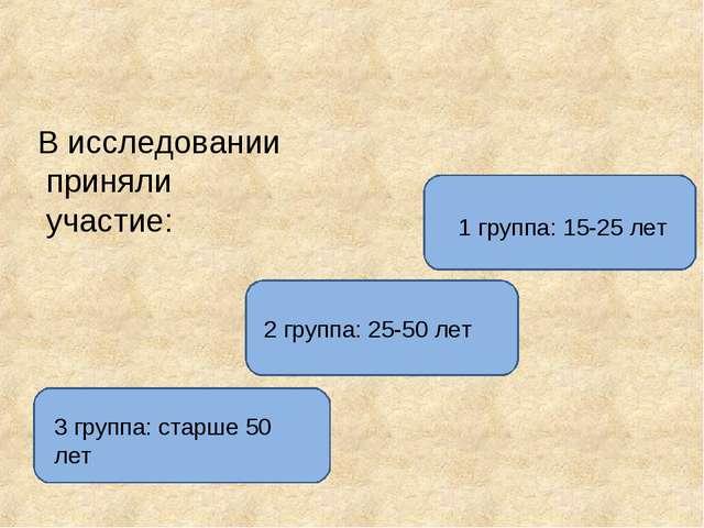 В исследовании приняли участие: 1 группа: 15-25 лет 2 группа: 25-50 лет 3 гру...