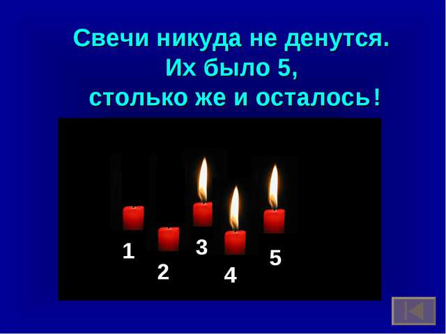 Свечи никуда не денутся. Их было 5, столько же и осталось ! 1 2 3 4 5