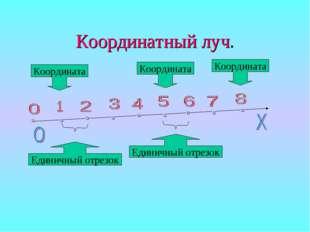 Координатный луч. Единичный отрезок Единичный отрезок Координата Координата К