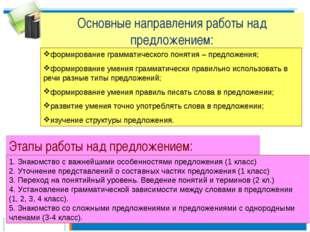 Основные направления работы над предложением: формирование грамматического по