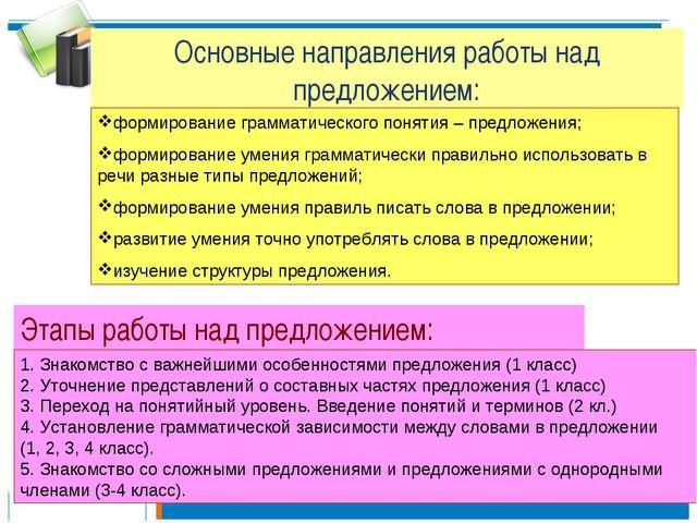 Основные направления работы над предложением: формирование грамматического по...