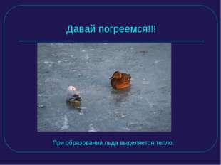 Давай погреемся!!! При образовании льда выделяется тепло.