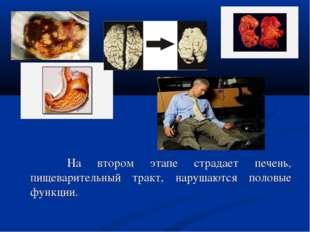 На втором этапе страдает печень, пищеварительный тракт, нарушаются половые ф