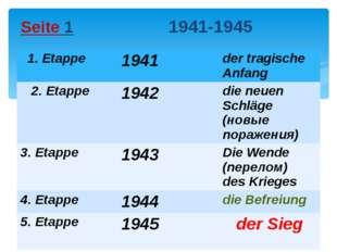 Seite 1 1941-1945 1.Etappe 1941 dertragischeAnfang 2.Etappe 1942 dieneuenSchl
