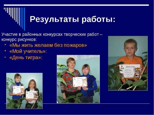 Результаты работы: Участие в районных конкурсах творческих работ – конкурс ри...