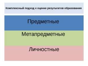 Комплексный подход к оценке результатов образования Предметные Метапредметны
