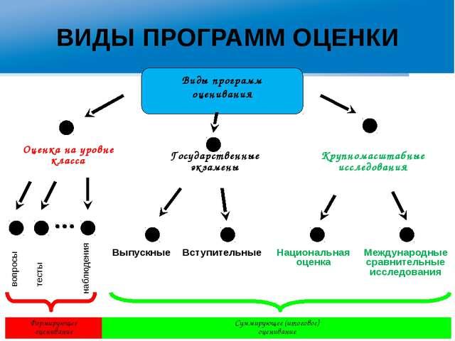 ВИДЫ ПРОГРАММ ОЦЕНКИ Государственные экзамены Оценка на уровне класса Крупном...