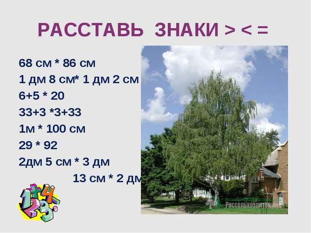 68 см * 86 см 1 дм 8 см* 1 дм 2 см 6+5 * 20 33+3 *3+33 1м * 100 см 29 * 92 2д...