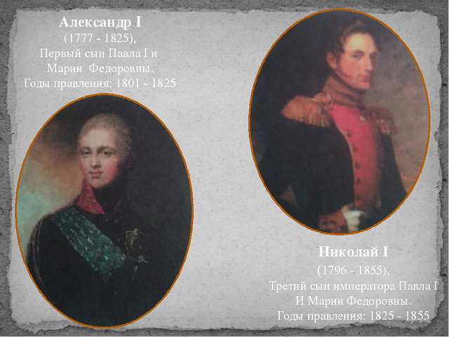 Александр I (1777 - 1825), Первый сын Павла I и Марии Федоровны. Годы правле...