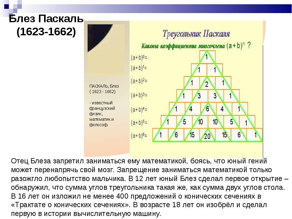 Блез Паскаль (1623-1662) Отец Блеза запретил заниматься ему математикой, бояс...
