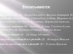 Воспитываются: В полной семье (9) : Базарбаев Айдос, Васенев Дмитрий, Кулиев