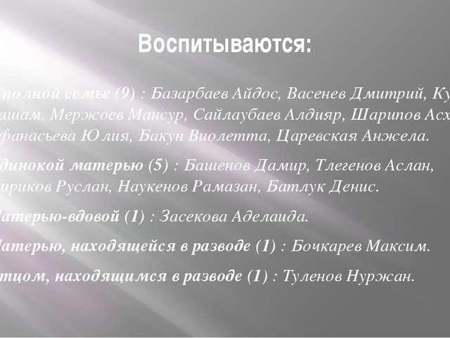 Воспитываются: В полной семье (9) : Базарбаев Айдос, Васенев Дмитрий, Кулиев...